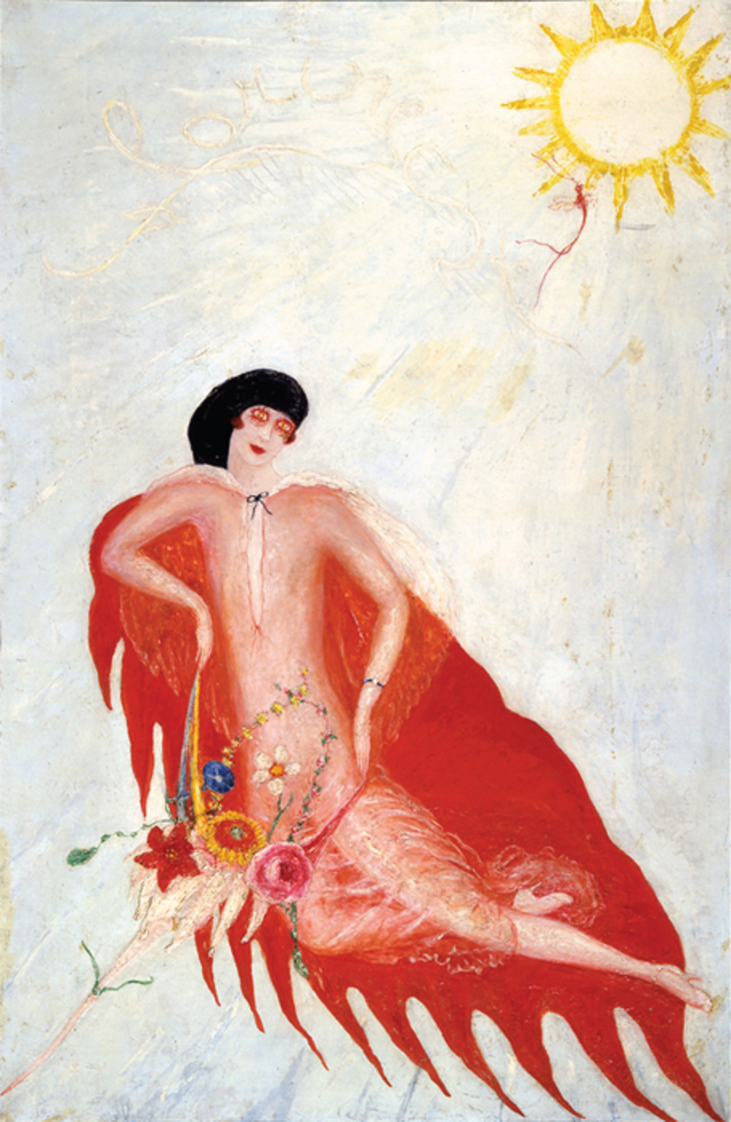 "Florine Stettheimer, Portrait of Myself, 1923, oil on canvas mounted on composition board, 40 × 26""."