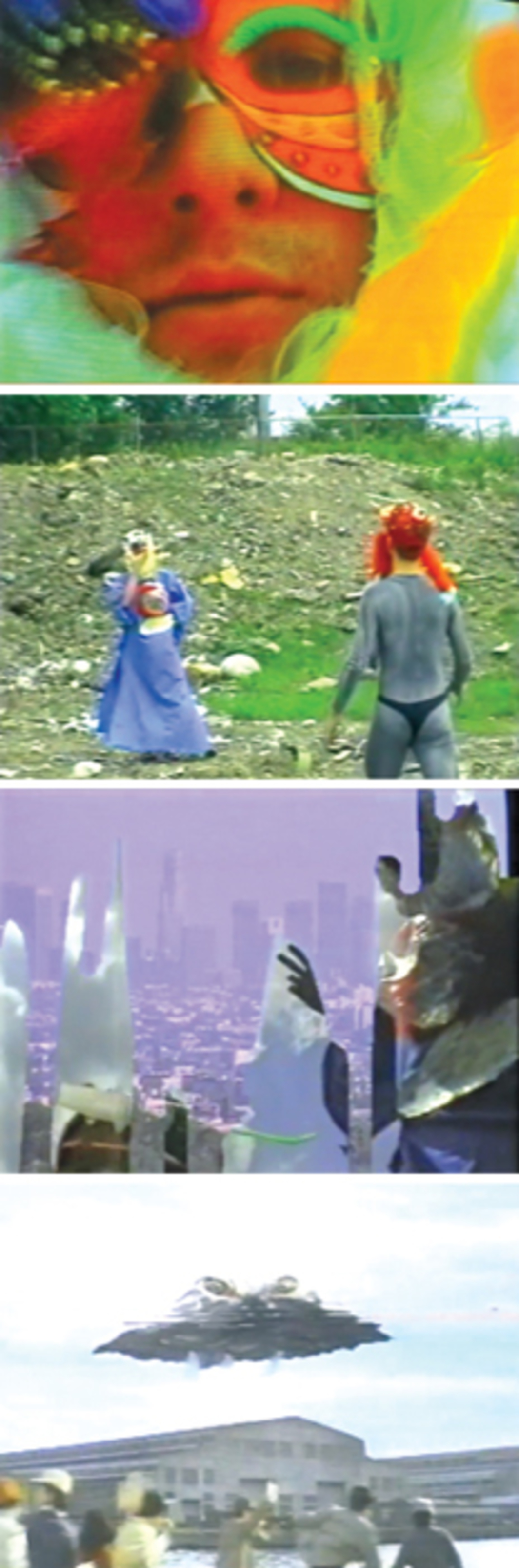 *Four stills from Charles Irvin's _Aphrodite's Child--The Four Horsemen_, 1999*, video, color, sound, 6 minutes 7 seconds.