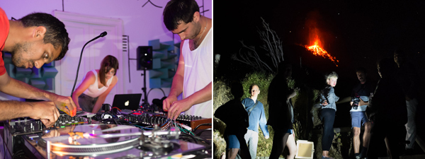 Left: Artist Haroon Mirza with Nik Void and Gabe Gurnsey of Factory Floor. Right: Celia Hempton, Prem Sahib and more Forget Amnesia participants ascend the volcano.