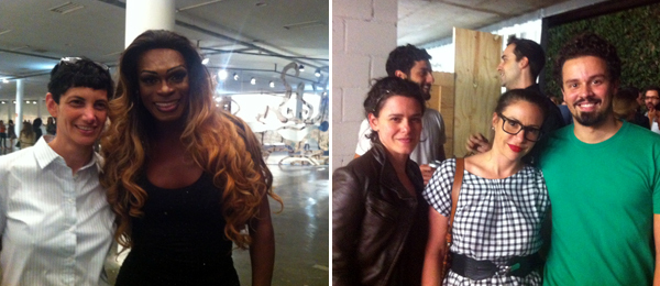 Left: Artist Yael Bartana and performer Márcio Pantera at the opening of the Bienal de São Paulo. Right: Artists Ana Mazzei, Rose Klabin, and Jonathas de Andrade at an opening at Fortes Vilaça.