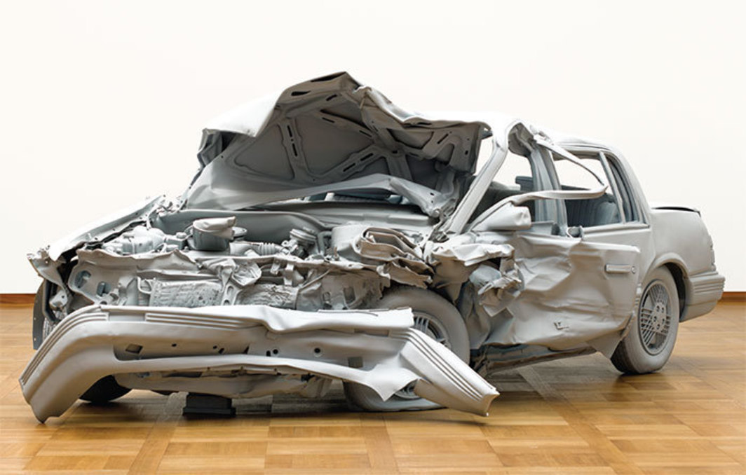 "Charles Ray, Unpainted Sculpture, 1997, automotive primer, fiberglass, 4' 11 7/8"" × 6' 6"" × 14' 2 7/8""."