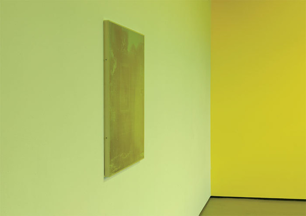 "Gaylen Gerber, Clear Sky/Garden Addition, 1997, Cibachrome print, charcoal, Plexiglas frame, 31 × 31"". Installation view, White Flag Projects, Saint Louis, 2009. Photo: Gaylen Gerber and Tom Van Eynde."