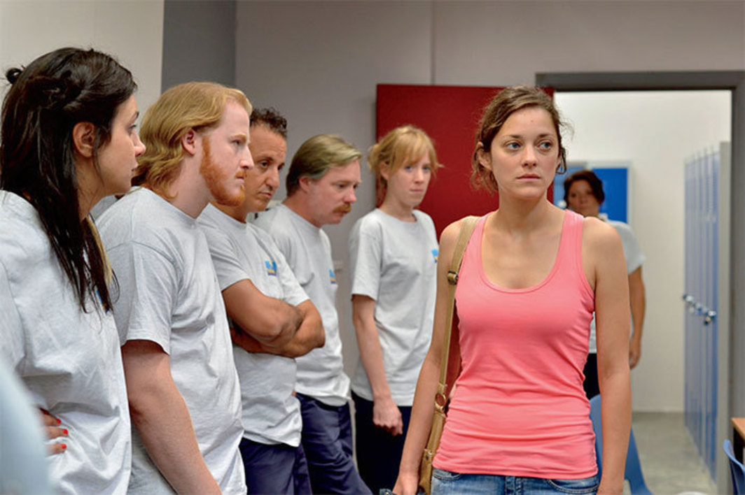 Jean-Pierre and Luc Dardenne, Deux jours, une nuit (Two Days, One Night), 2014, digital video, color, sound, 95 minutes. Sandra (Marion Cotillard) and coworkers.
