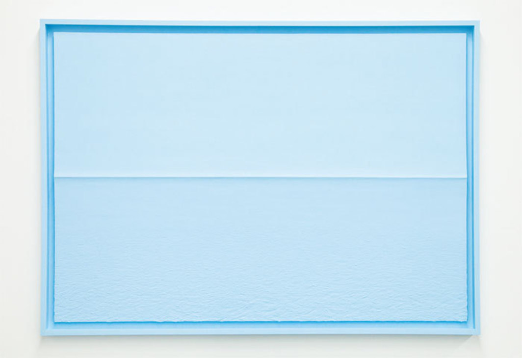 "Tom Friedman, Blue Styrofoam Seascape, 2014, paint, Styrofoam, 45 3/8 × 63 1/2""."