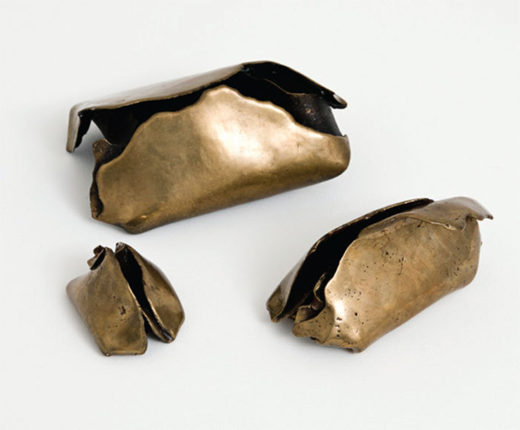 "Hannah Wilke, Athens, 1979, bronze, clockwise, from top: 7 × 4 3/4 × 3 1/2"", 5 1/2 × 4 × 3 3/4"", 3 × 2 1/4 × 2""."