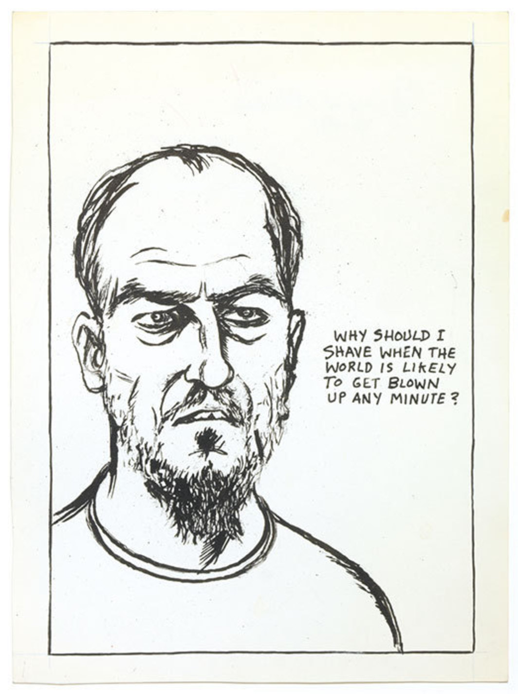 "Raymond Pettibon, No Title (Why should I), 1984, pen and ink on paper, 12 × 9""."