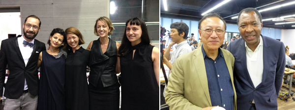 Left: Gwangju Biennale chief curator Jessica Morgan (second from right) with the curatorial team Emiliano Valdéz, Fatos Ustek, Enna Bae, and Teresa Kittler. (Photo: Cecilia Bengolea.) Right: Gwangju Biennale president Yong-woo Lee with Venice Biennale artistic director Okwui Enwezor. (Except where noted, all photos: Kate Sutton)