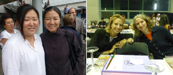 Left: Tate curator Lee Sook-kyung with artist Kimsooja. Right: Artists Camille Henrot and Sharon Hayes.