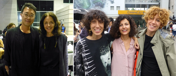 Left: M+ curator Doryun Chong with dealer Rachel Lehmann. Right: Artist Banu Cennetoğlu with Biennale associate curator Fatos Ustek and SAHA Association's Merve Çağlar.
