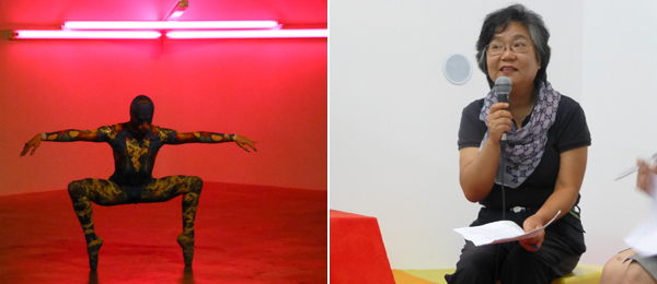 Left: Cecilia Bengolea and François Chaignaud's Sylphides before Dan Flavin's Monument 4. Right: LBGT activist Choi Hyun-sook speaking as part of Carlos Motta's We Who Feel Differently.