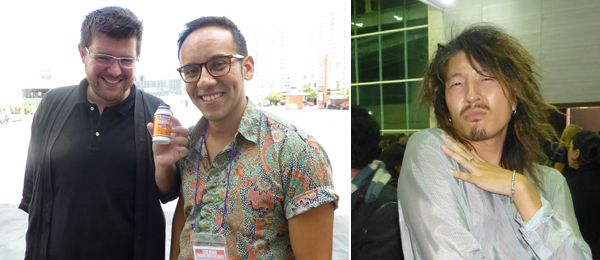 Left: Curators Cosmin Costinas and Inti Guerrero. Right: Artist Stewart Uoo.