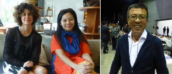 Left: Dealer Silvia Sgualdini with curator Alia Swastika. Right: Artist Liu Xiaodong.