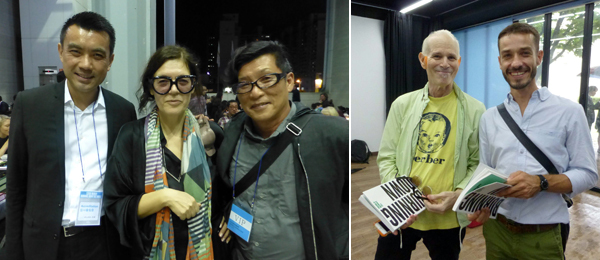 Left: Curators Eugene Tan and Ute Meta Bauer (left). Right: Artists Charles Atlas and Carlos Motta.