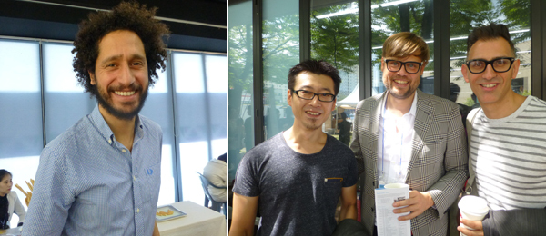 Left: Curator Hicham Khalidi. Right: Curators Kondo Kenichi, Till Fellrath, and Sam Bardaouil.