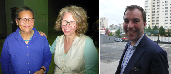 Left: Artist Lubaina Himid with curator Ruth Noack. Right: Dealer Matthias Arndt.