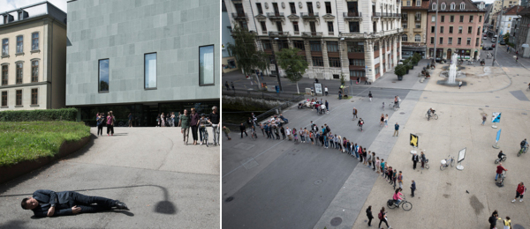 Left: Lin Yilin's Departure from Her Feet, 2014. Right: Alexandra Pirici's Tilted Arc.
