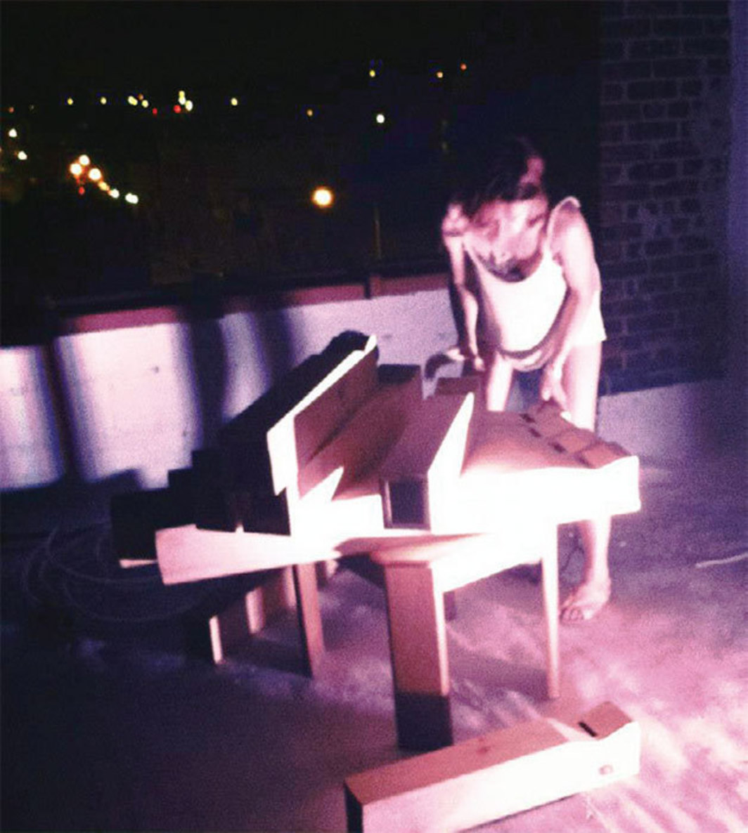 *Cammisa Buerhaus setting up her _Chroma Color Organ_, 2010, Brooklyn, NY, August 2012.* Photo: Cristina Razzano.