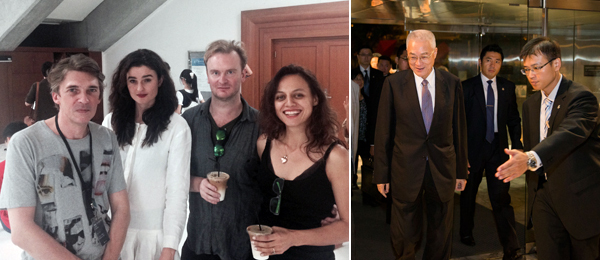 Left: Taipei Biennial artistic director Nicolaus Bourriaud with artists Marlie Mul, Nathaniel Mellors, and Tala Madani. (Except where noted, all photos: Kevin McGarry) Right: Wu Den-yih, vice president of the Republic of China.
