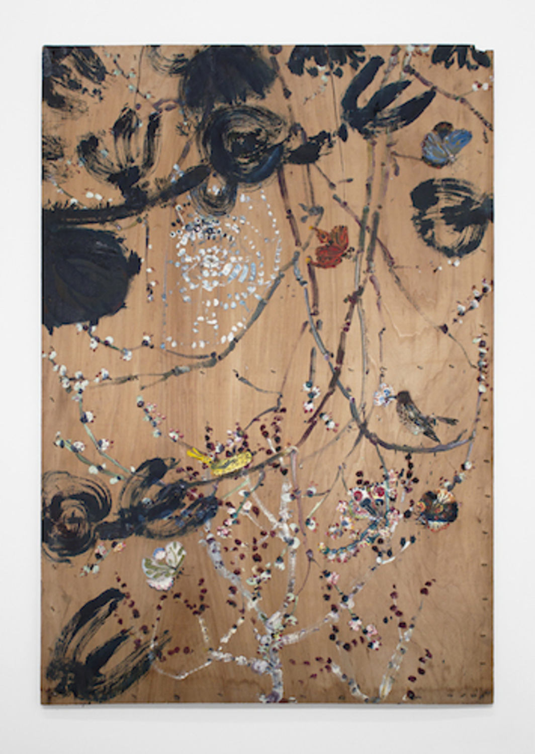 "Bill Lynch, Untitled (Spider Web and Butterflies), n.d., oil on wood, 49 x 32 1/2 x 1""."
