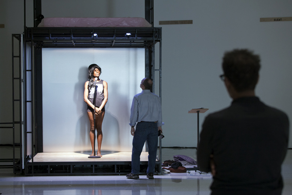 Ralph Lemon, Scaffold Room, 2014. Rehearsal view, September 16, 2014, Walker Art Center, Minneapolis. Okwui Okpokwasili (left) and Ralph Lemon (right). Photo: Gene Pittman.