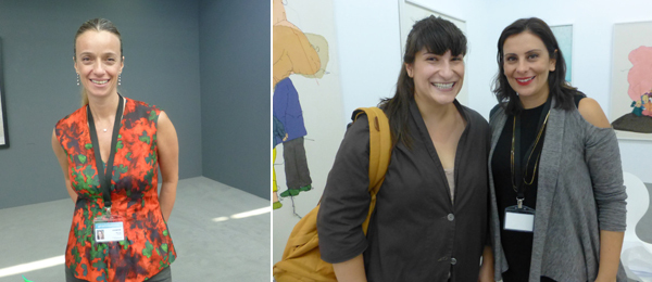 Left: Dealer Yeşim Turanlı. Right: Artist Taus Makhacheva with dealer Asli Sümer.