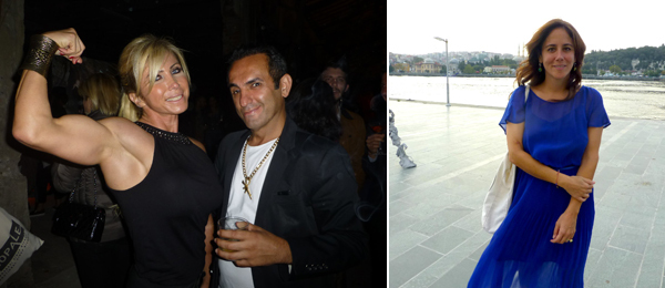 Left: Bodybuilder Işıl Aktan with artist Halil Altındere at the premiere of Angels of Hell. Right: ArtInternational Director Dyala Nusseibeh.