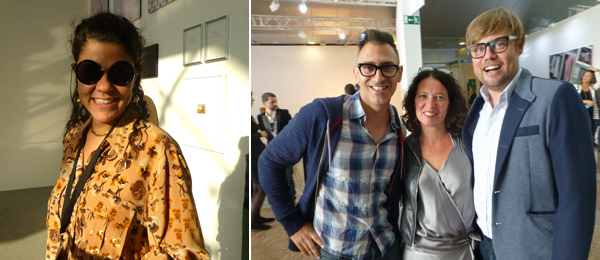 Left: Dealer Sylvia Kouvali. Right: Curators Sam Bardaouil, Protocinema's Mari Spirito, and curator Till Fellrath.