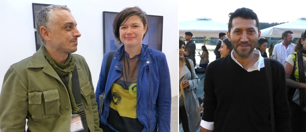 Left: Artists Memed Erdener and Güneş Terkol. Right: Dealer Özkan Cangüven.