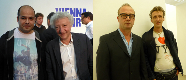 Left: Artists Heimo Zobernig and Florian Reither. Right: Artist and activist Ilya Budraitskis with curator Viktor Misiano.