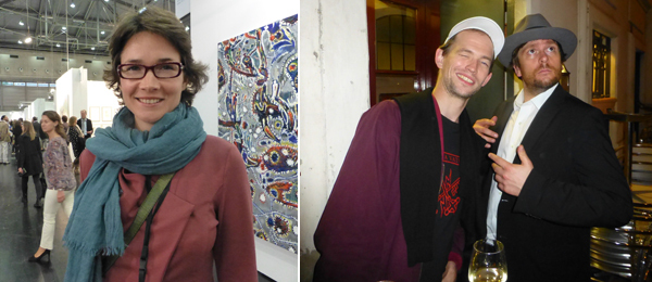 Left: Curator Ekaterina Perventseva. Right: Artists Nick Oberthaler and Chris Goennawein.