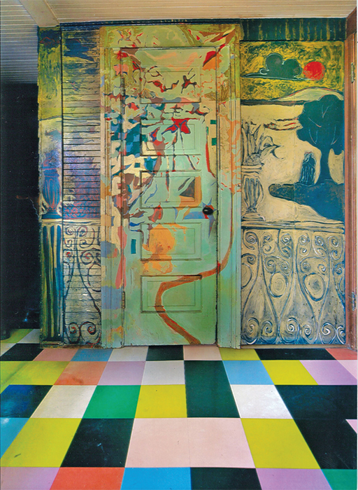 Mural painted by Jess in 1956, with door and floor painted by Harry Jacobus in 1958, in the kitchen of the Kael Basart House, Berkeley, CA, 2014. Photo: Wilfred J. Jones. © Jess Collins Trust.
