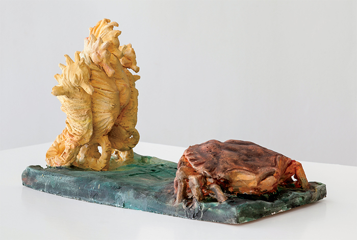 "Peter Wächtler, Untitled, 2014, ceramic, watercolor, 17 3/4 × 9 1/4 × 11 3/8""."