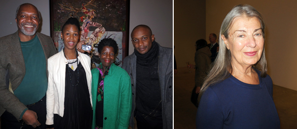 Left: Artists Kerry James Marshall and Wangechi Mutu with Studio Museum director Thelma Golden and artist Hank Willis Thomas. Right: Dealer Victoria Miro.
