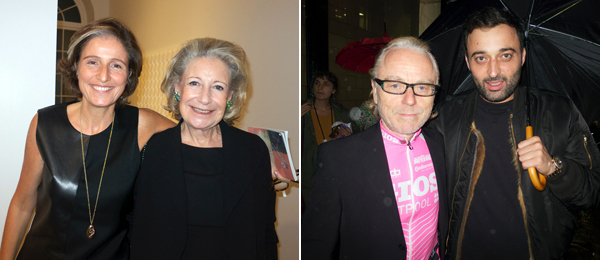 Left: Dealer Dominique Lévy with her mother, Evelyn Lévy. Right: Artists Reinhard Mucha and Andro Wekua.