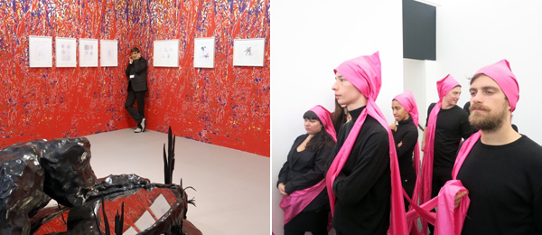 Left: Dealer Sadie Coles. Right: James Lee Byars performance troupe.