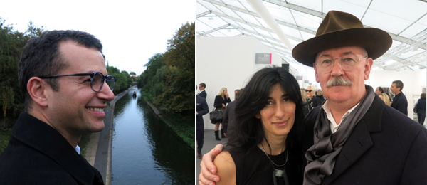Left: Frieze cofounder Matthew Slotover. Right: Curator Abaseh Mirvali and artist Cerith Wyn Evans.