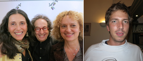 Left: Collectors Füsun Eczacibasi and Jay Smith with 14th Istanbul Biennial curator Carolyn Christov-Bakargiev. Right: Artist Tobias Madison.