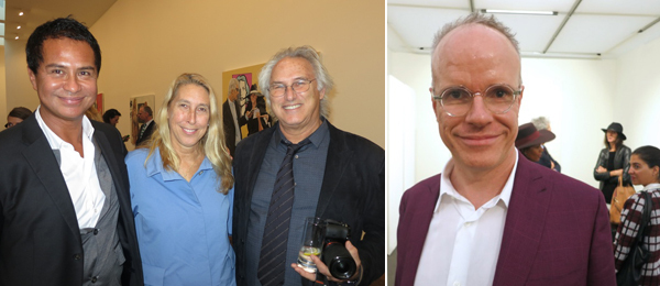 Left: Dealer Glenn Scott Wright with New Museum director Lisa Phillips and artist Eric Fischl. Right: Serpentine Gallery codirector Hans Ulrich Obrist.