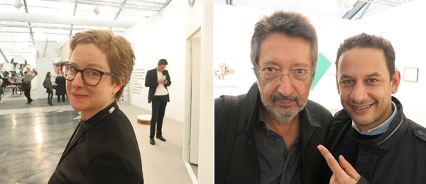 Left: Dealer Esther Schipper. Right: Artist Juliao Sarmento and Jens Hoffmann, deputy director of exhibitions and programs at the Jewish Museum.