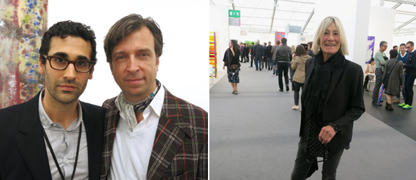 Left: Dealer David Kordansky and collector Alain Servais. Right: Curator Clarissa Dalrymple.