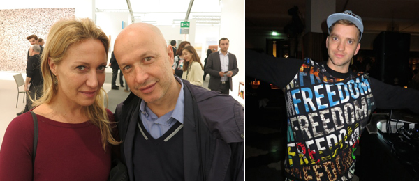Left: Collector Diana Widmaier-Picasso and Fondation Beyeler director Samuel Keller. Right: Artist Eddie Peake.