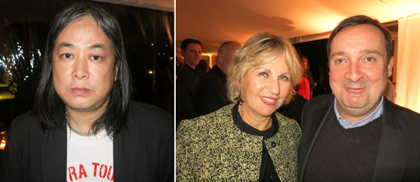Left: Artist Yang Fudong. Right: Collector Wendy Fisher and ICA London director Gregor Muir.