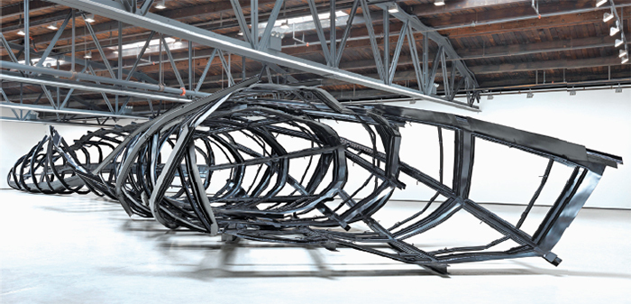 "Monika Sosnowska, Tower, 2014, steel, paint, 10' 9"" × 105' 7"" × 21' 9""."