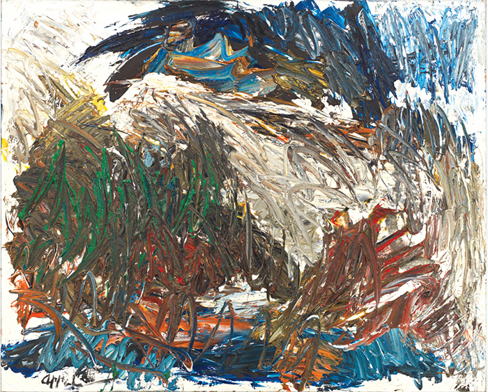 "Karel Appel, Between Mud and Heaven, 1962, oil on canvas, 51 1/4 × 63 3/4""."