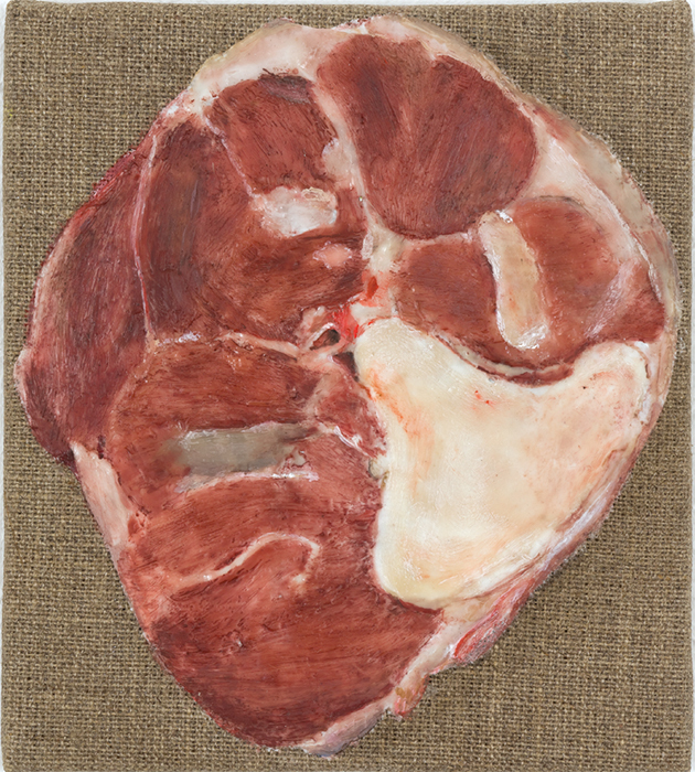 "Helene Appel, Beinscheibe (Hind Shin Cross Cut), 2014, encaustic and oil on linen, 6 3/4 × 6""."