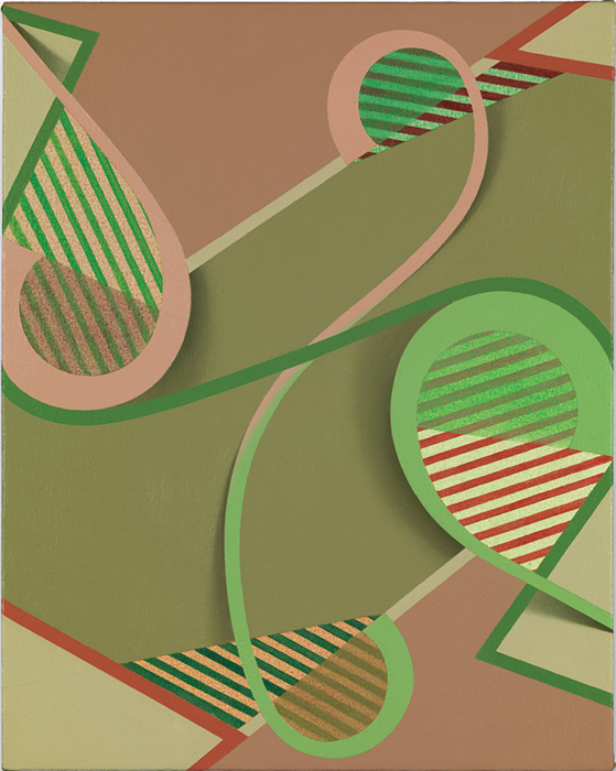 "Tomma Abts, Oke, 2013, acrylic and oil on canvas, 18 7/8 × 15""."