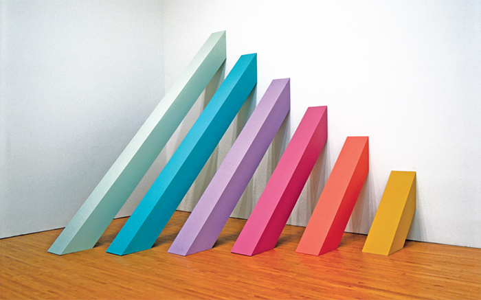 "Judy Chicago, Rainbow Pickett, 1965/2004, latex paint on canvas-covered plywood, 10' 6"" × 10' 6"" × 9' 10""."