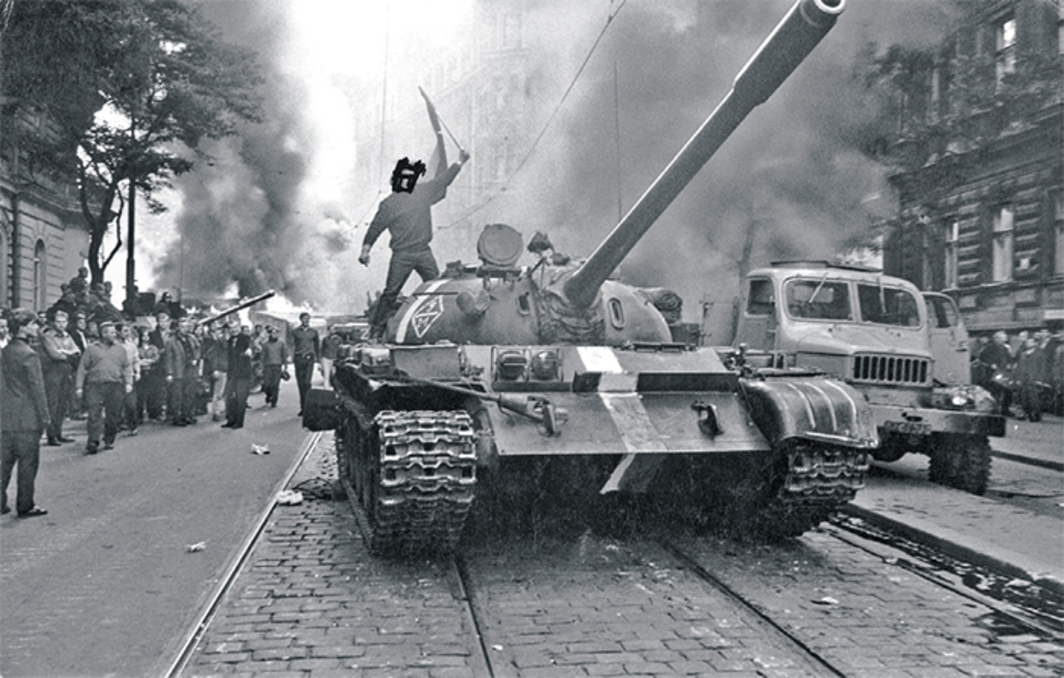 "Josef Koudelka, (Student on tank, eyes crossed out), 1968, gelatin silver print, 6 1/2 × 9 7/8"". From the series ""Invasion,"" 1968."