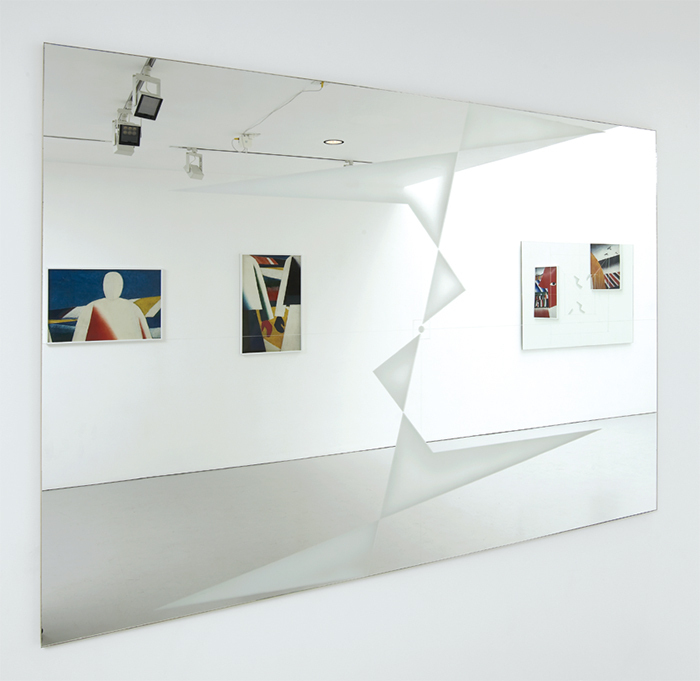 "Goshka Macuga, Drawing no. 4. 'Path of Movement of a Point' After K. Malevich (1922), 2003, sand-blasted mirror, 48 × 72""."