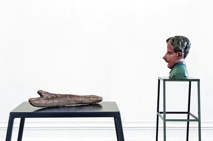 "View of ""Musa paradisiaca,"" 2014; Kunsthalle Lissabon. From left: Pau-mão (Stick-hand), 2014; O sono do Francisco (The Sleep of Francisco), 2014."